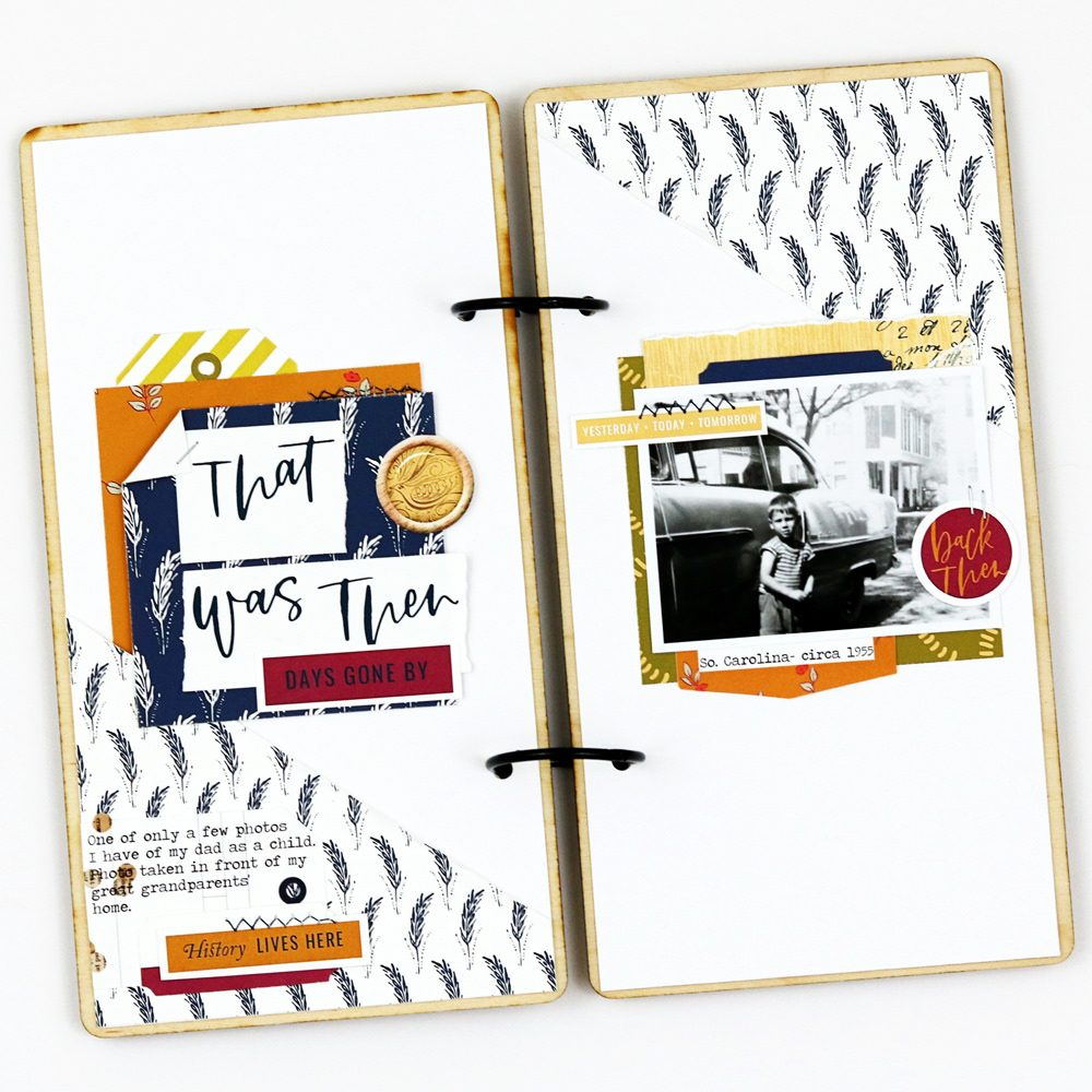 Back then hybrid scrapbook layout - Sahin Designs