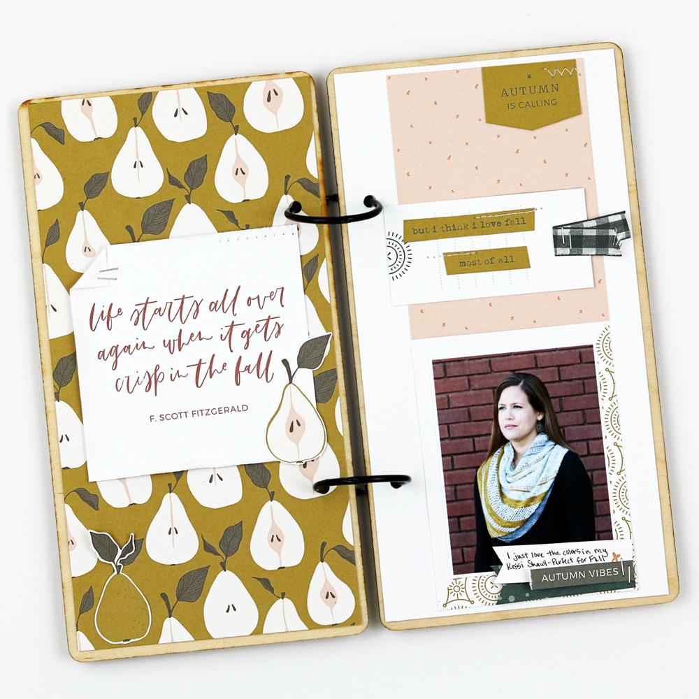Travelers Notebook scrapbook layout inspiration - Sahin Designs