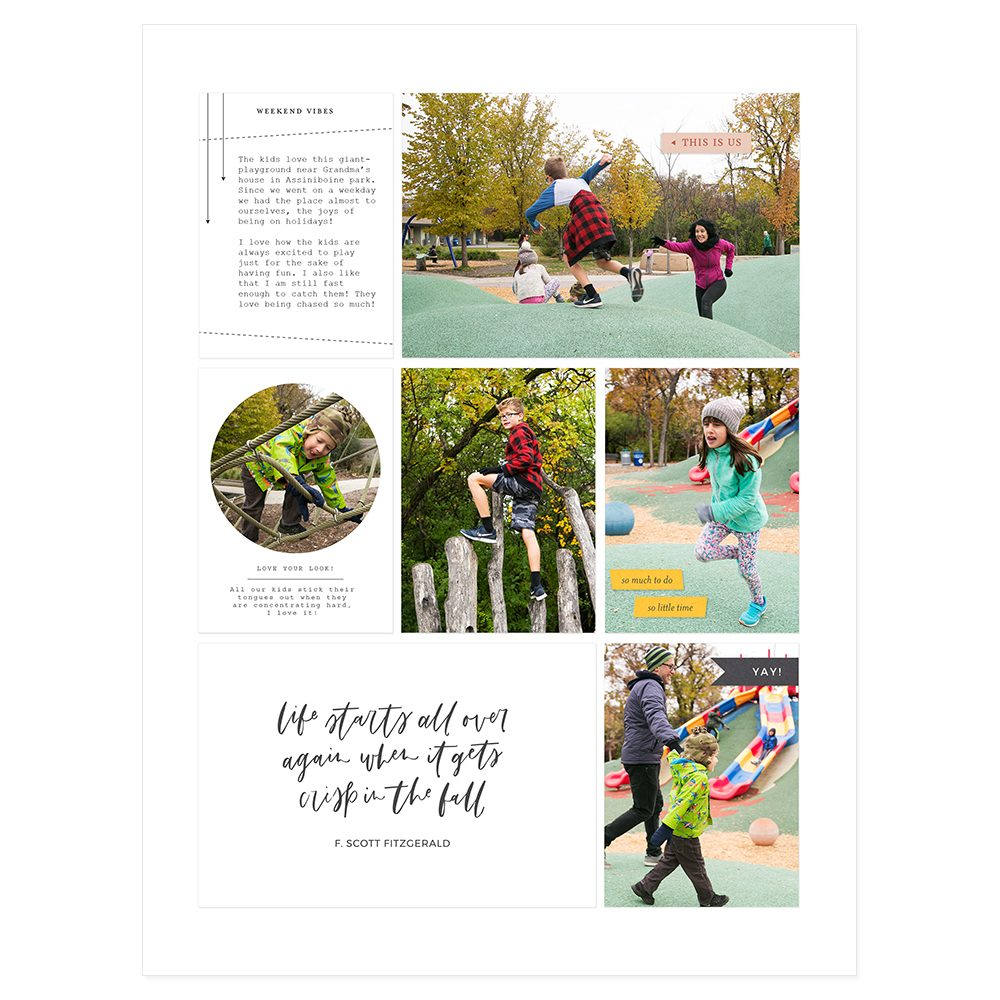 Digital pocket scrapbook layout inspiration - Sahin Designs