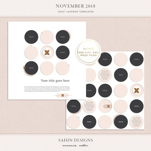 November 2018 Digital Scrapbook Layout Templates/Sketches - Sahin Designs