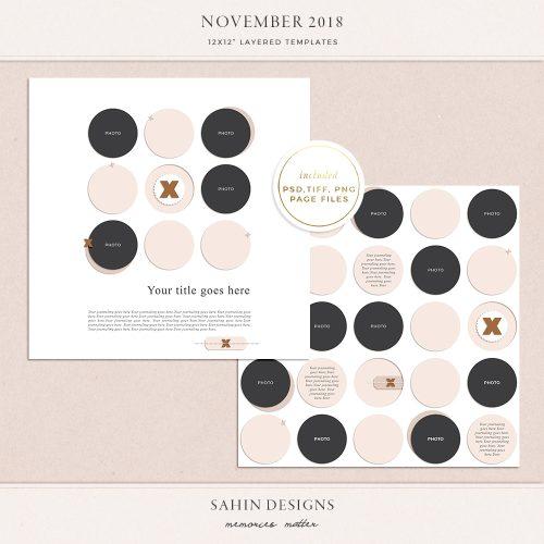 November 2018 Digital Scrapbook Layout Templates/Sketches - Sahin Designs