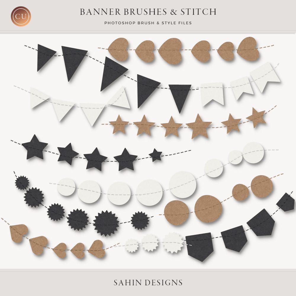 Banner & Stitch Photoshop Brushes - Sahin Designs