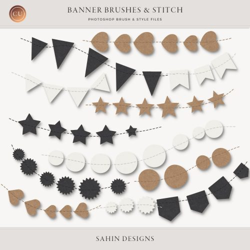 Banner & Stitch Photoshop Brushes - Sahin Designs