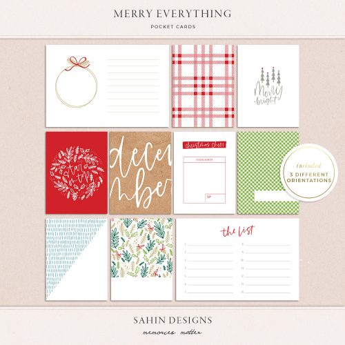 Merry Everything Printable Pocket Cards - Sahin Designs