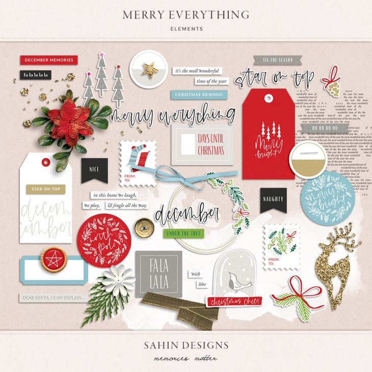 Merry Everything Digital Scrapbook Elements - Sahin Designs