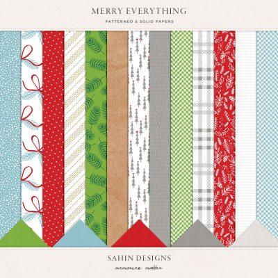 Merry Everything Digital Scrapbook Papers - Sahin Designs