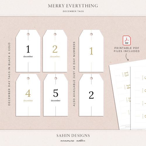 Merry Everything Printable December Tags - Sahin Designs