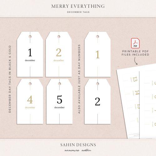 Merry Everything Printable December Tags - Sahin Designs