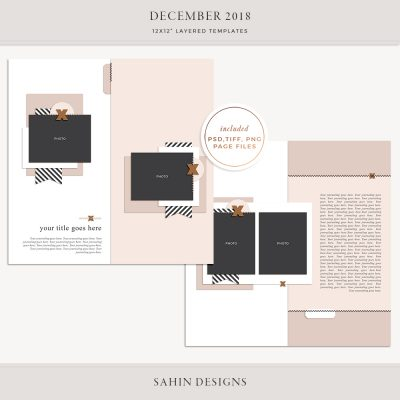December 2018 Digital Scrapbook Layout Templates/Sketches - Sahin Designs