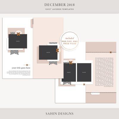 December 2018 Digital Scrapbook Layout Templates/Sketches - Sahin Designs