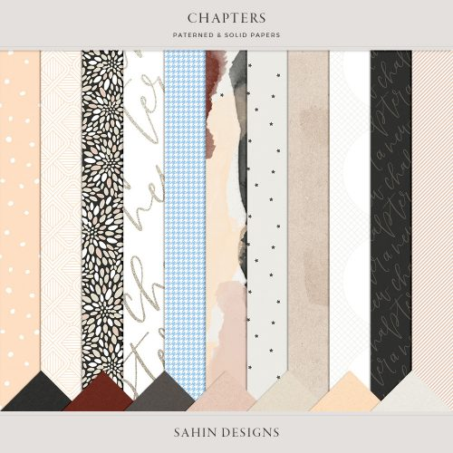 Chapters Digital Scrapbook Papers - Sahin Designs
