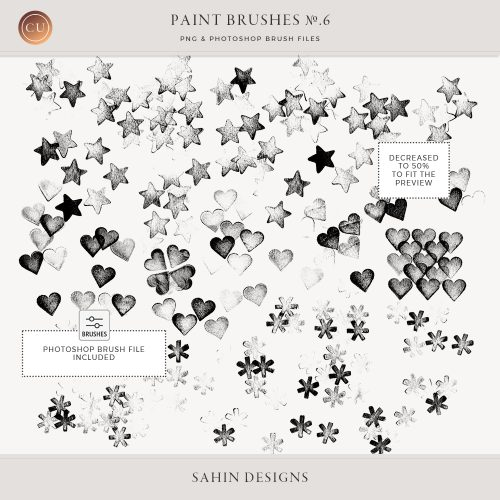 Stamped star and heart Photoshop brushes - Sahin Designs - CU Digital Scrapbook
