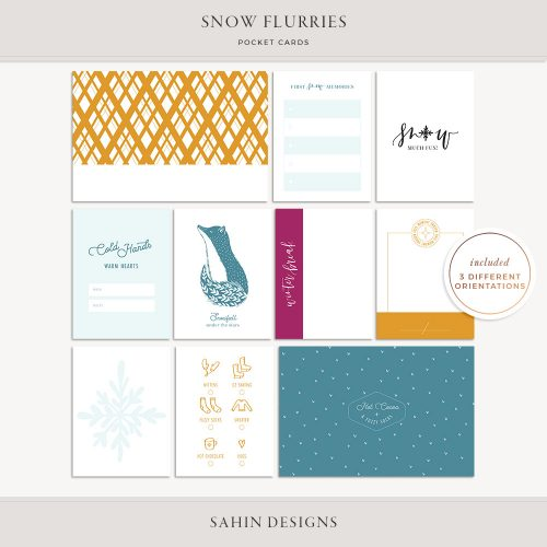 Snow Flurries Printable Pocket Cards - Sahin Designs