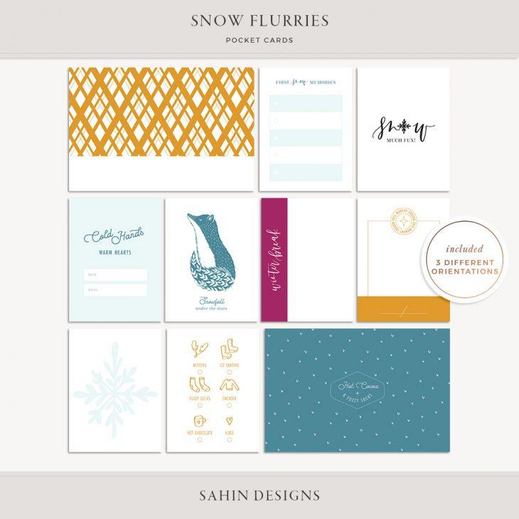 Snow Flurries Printable Pocket Cards - Sahin Designs