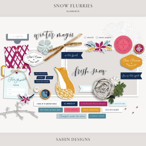 Snow Flurries Digital Scrapbook Elements - Sahin Designs
