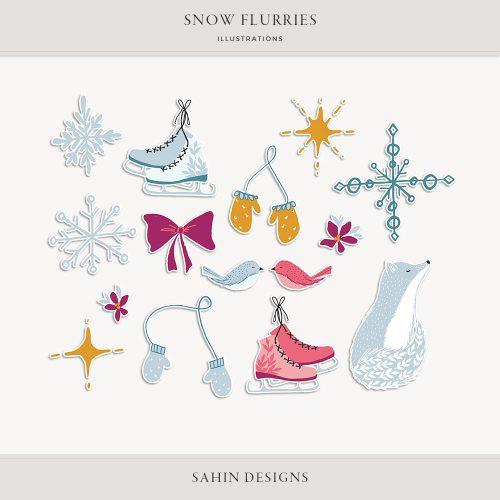 Snow Flurries Digital Scrapbook Stickers - Sahin Designs