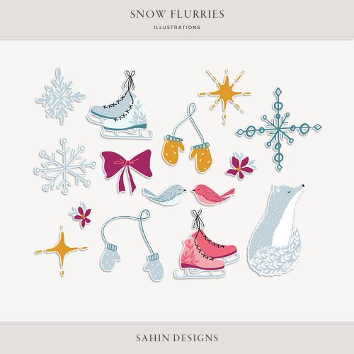 Snow Flurries Digital Scrapbook Stickers - Sahin Designs