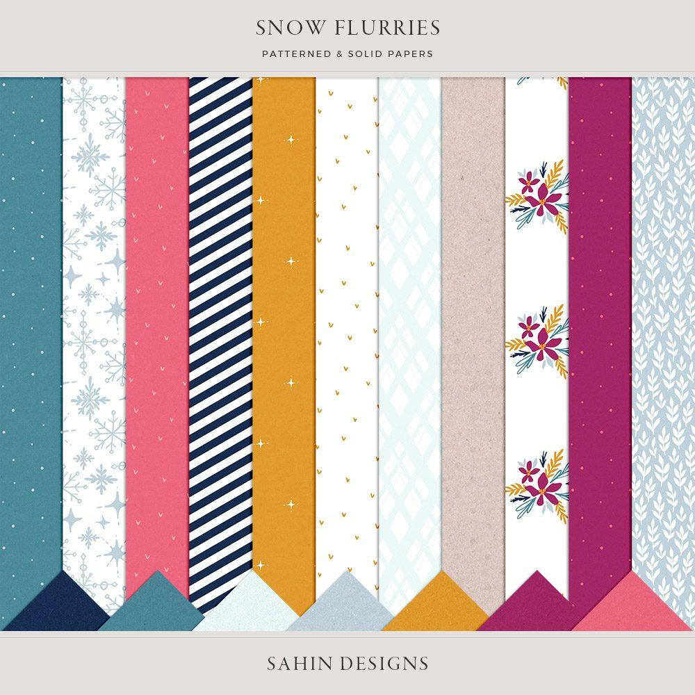 Snow Flurries Digital Scrapbook Papers - Sahin Designs