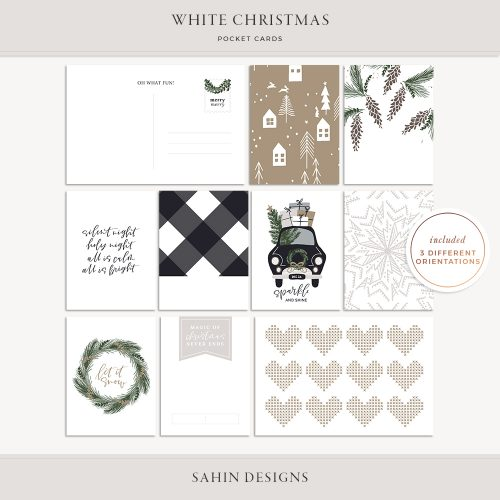 White Christmas Printable Pocket Cards - Sahin Designs