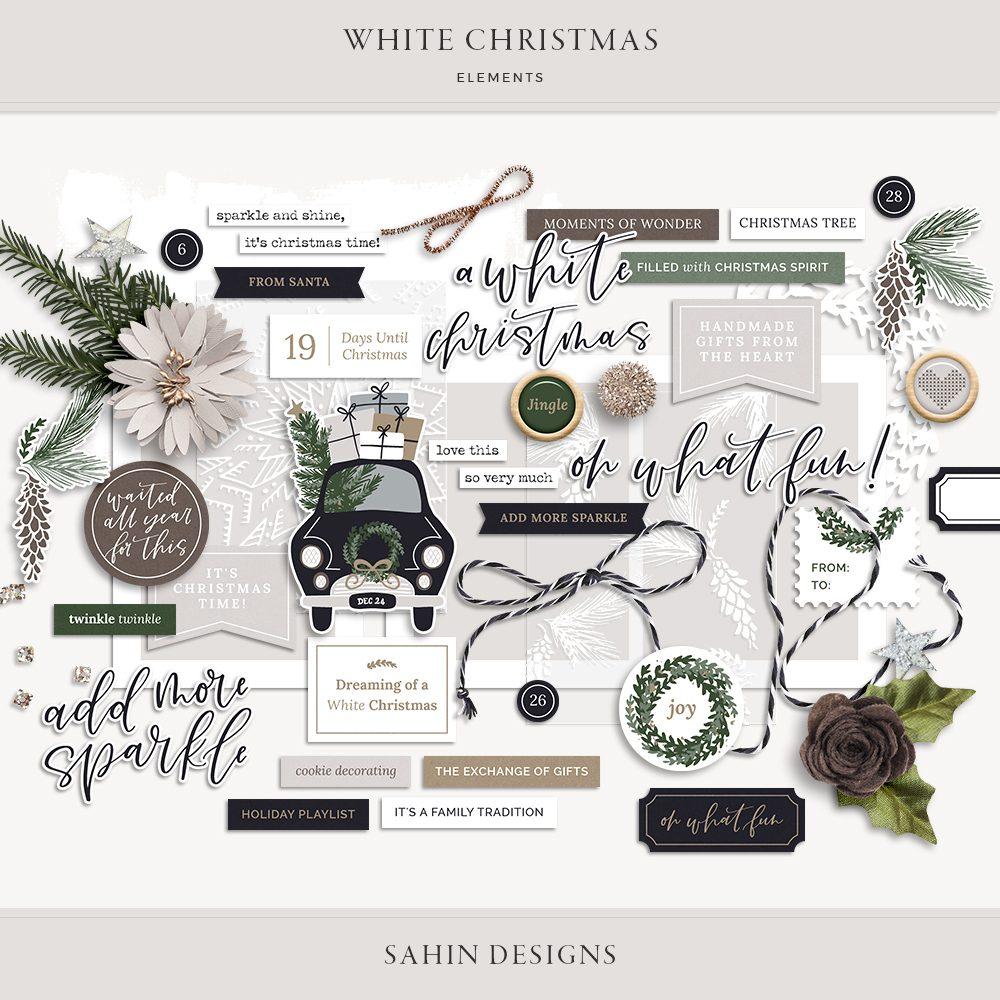 White Christmas Digital Scrapbook Elements - Sahin Designs