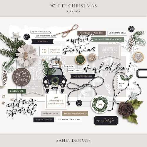 White Christmas Digital Scrapbook Elements - Sahin Designs
