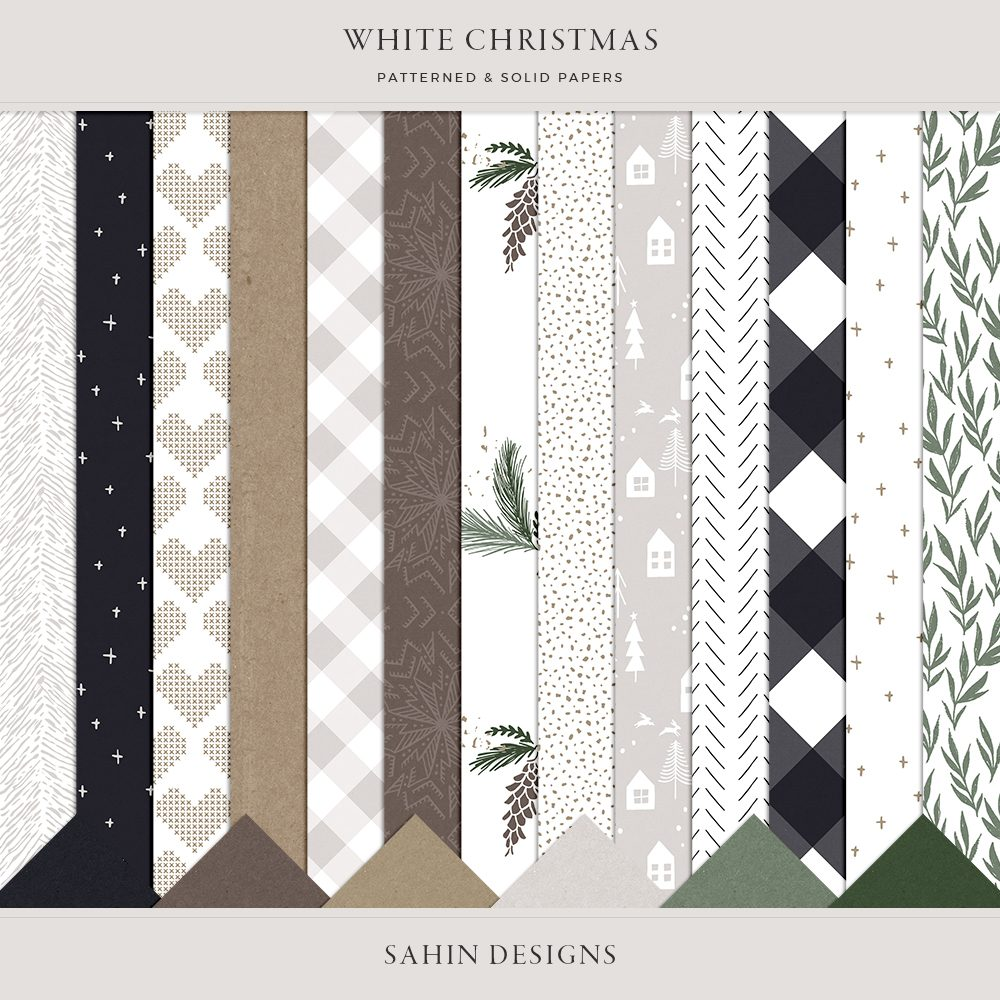 White Christmas Digital Scrapbook Papers - Sahin Designs