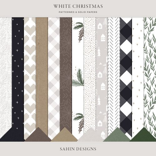 White Christmas Digital Scrapbook Papers - Sahin Designs
