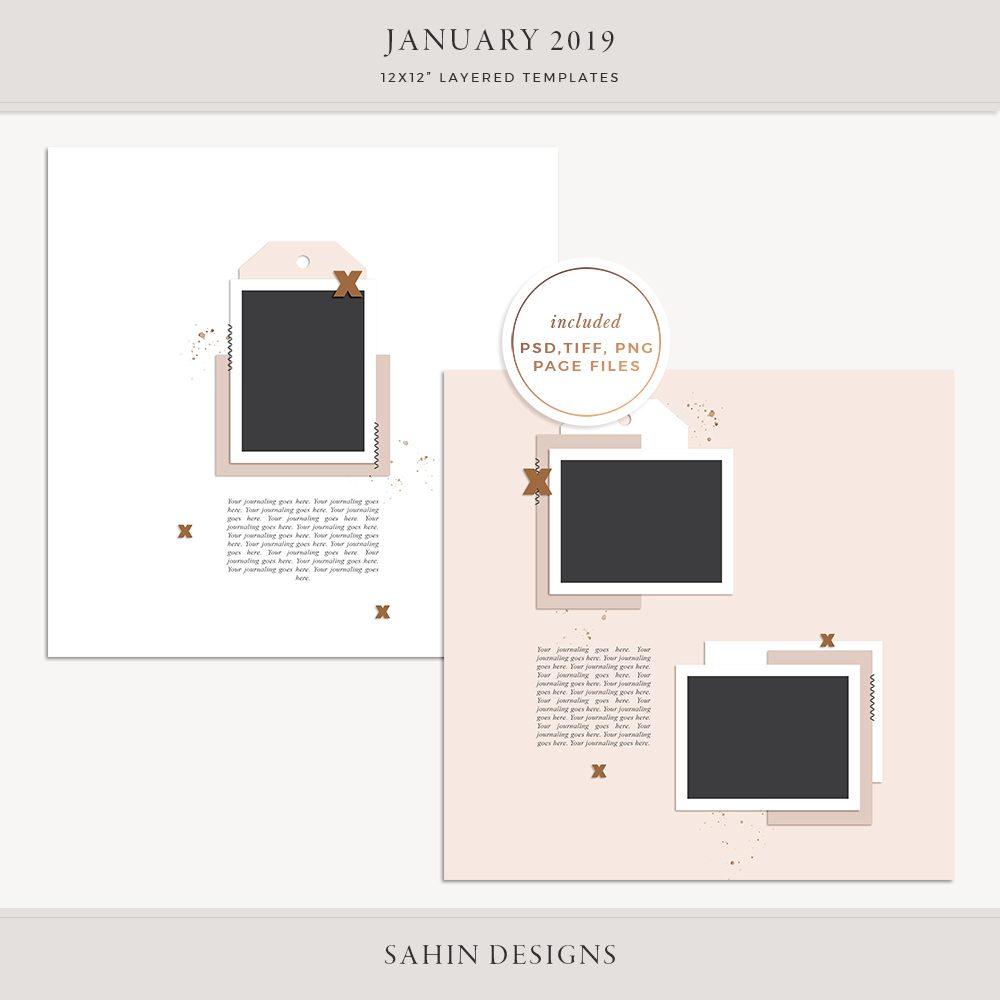 January 2019 Digital Scrapbook Layout Templates/Sketches - Sahin Designs