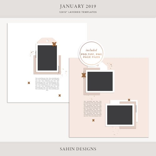January 2019 Digital Scrapbook Layout Templates/Sketches - Sahin Designs