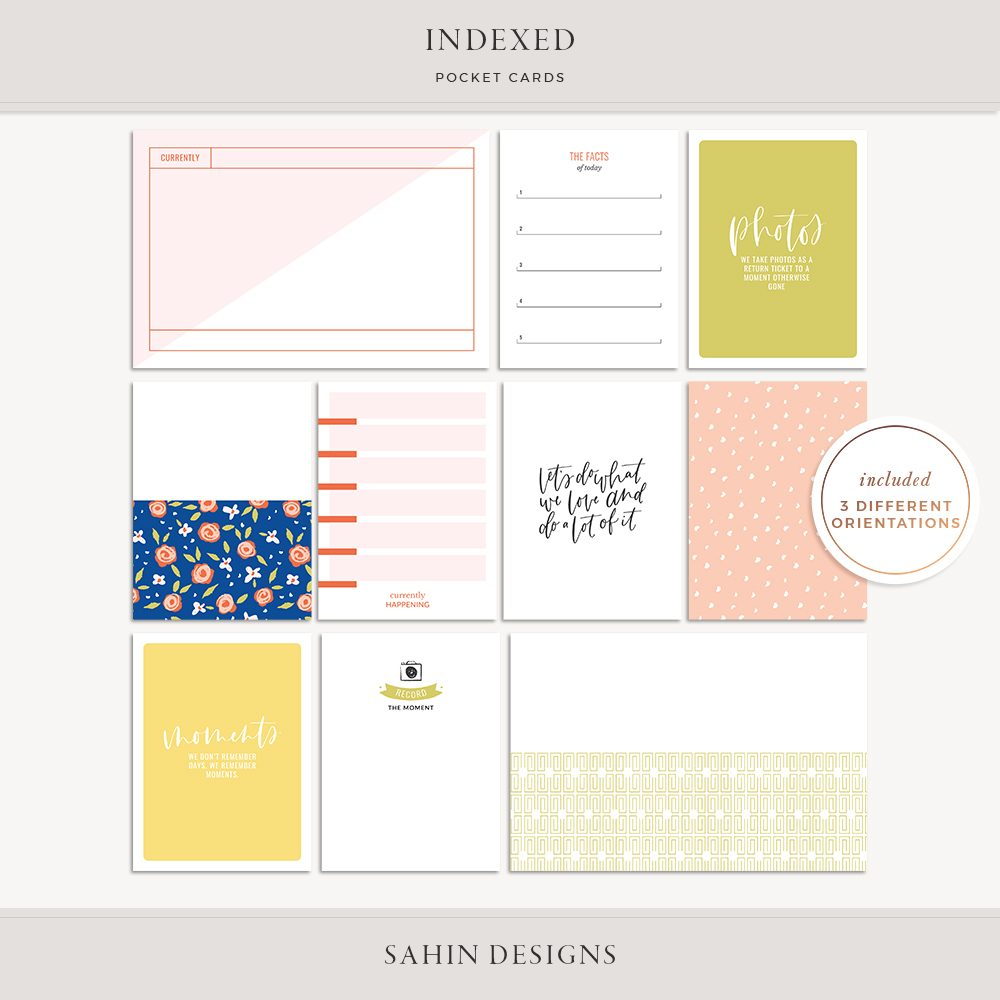 Indexed Printable Pocket Cards - Sahin Designs