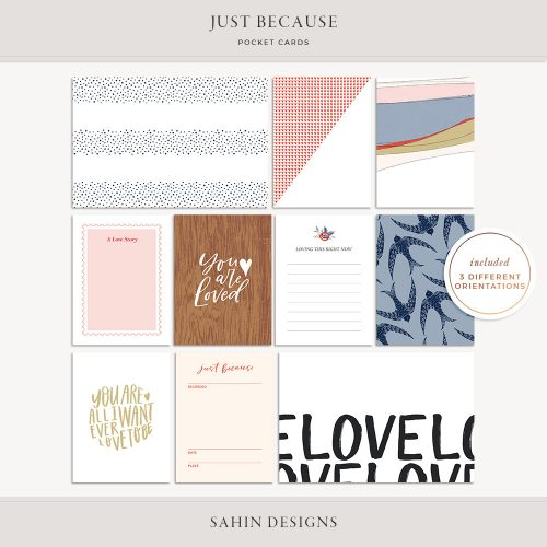 Just Because Printable Pocket Cards - Sahin Designs