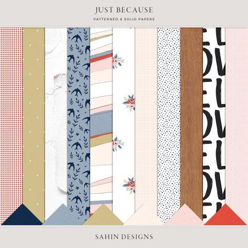Just Because Digital Scrapbook Papers - Sahin Designs