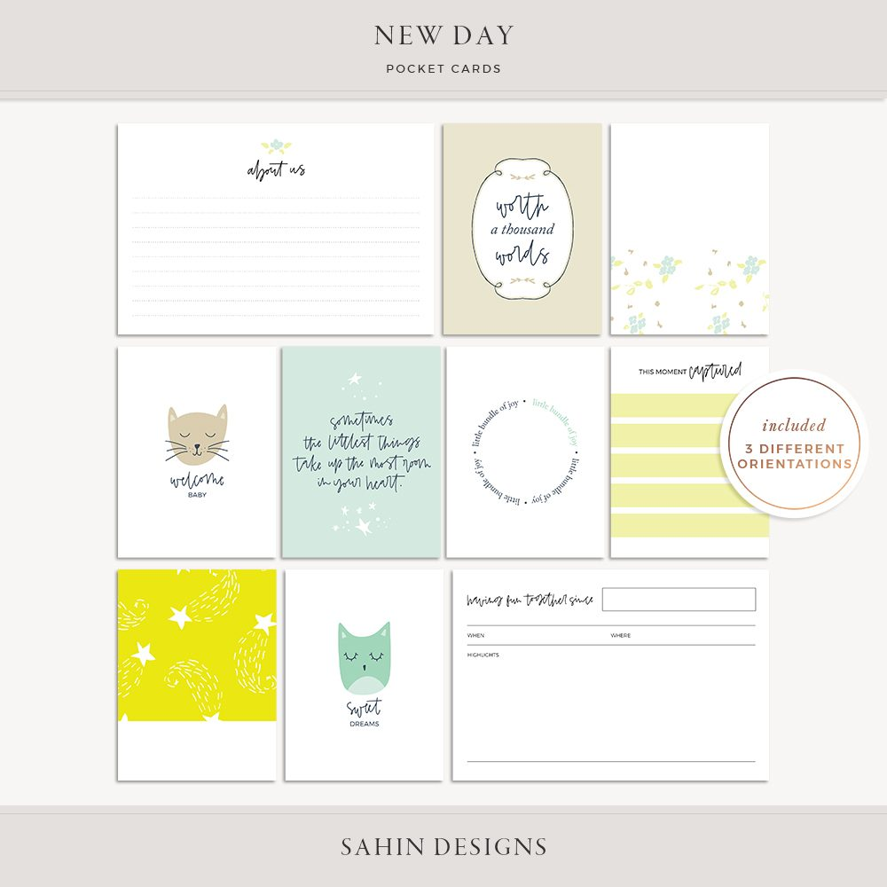 New Day Printable Pocket Cards - Sahin Designs