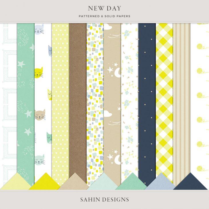 New Day Digital Scrapbook Papers - Sahin Designs