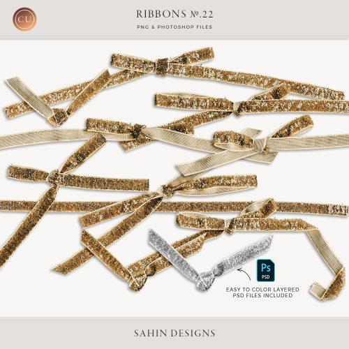 Extracted Gold Glitter Ribbons - Sahin Designs - CU Digital Scrapbook