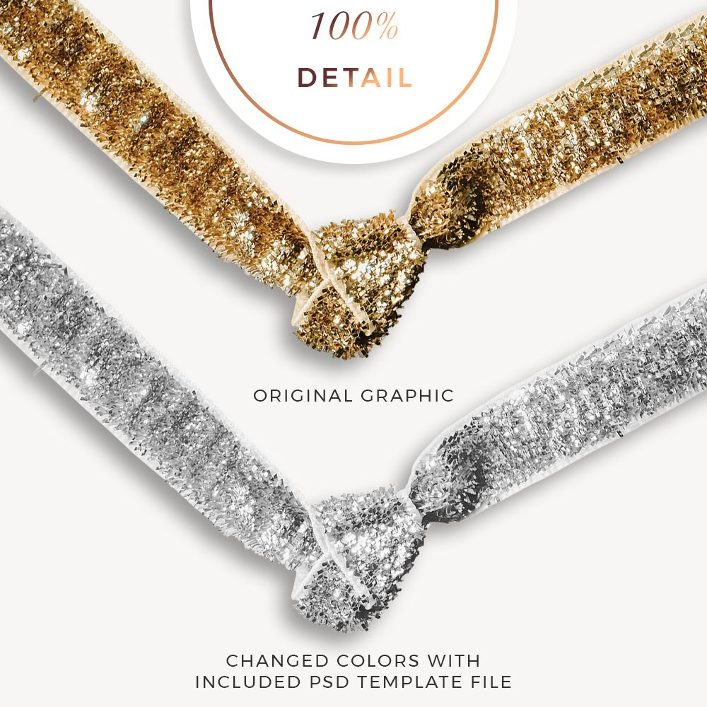Extracted Gold Glitter Ribbons - Sahin Designs - CU Digital Scrapbook