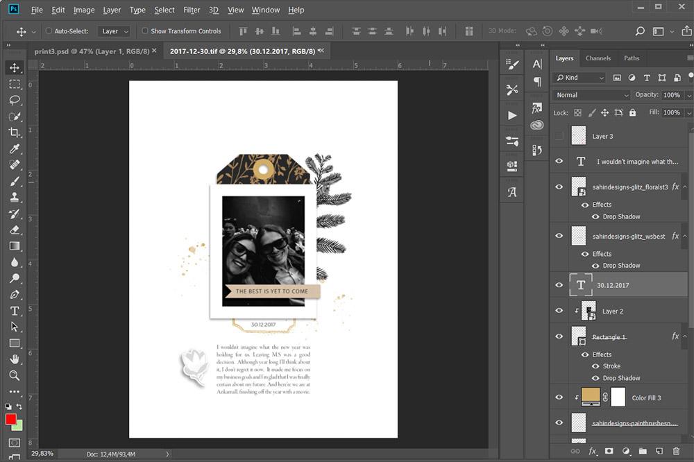 Three steps of finishing a hybrid scrapbook layout quick - Sahin Designs