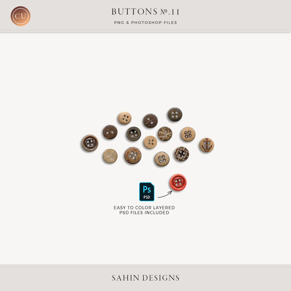 Extracted Brown Buttons - Sahin Designs - CU Digital Scrapbook