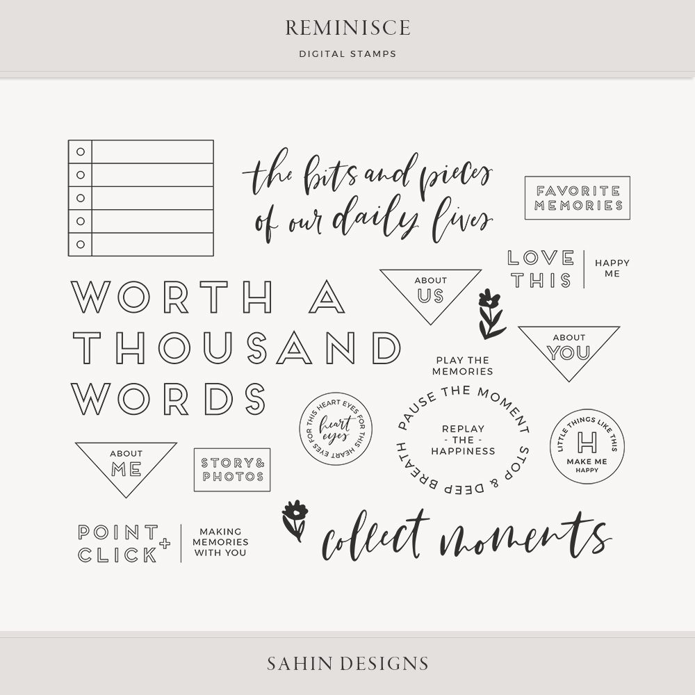 Reminisce Digital Scrapbook Stamps - Sahin Designs