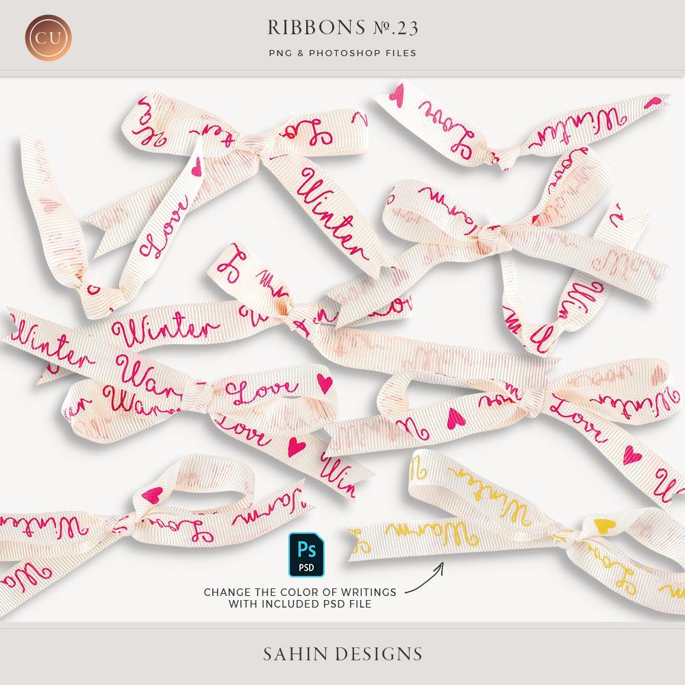 Extracted white ribbons - Sahin Designs - CU Digital Scrapbook