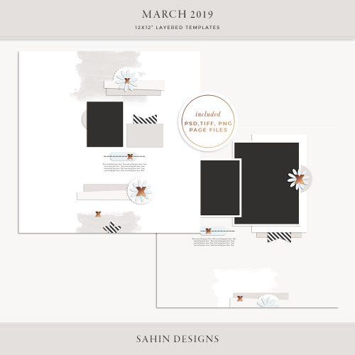 March 2019 Digital Scrapbook Layout Templates/Sketches - Sahin Designs