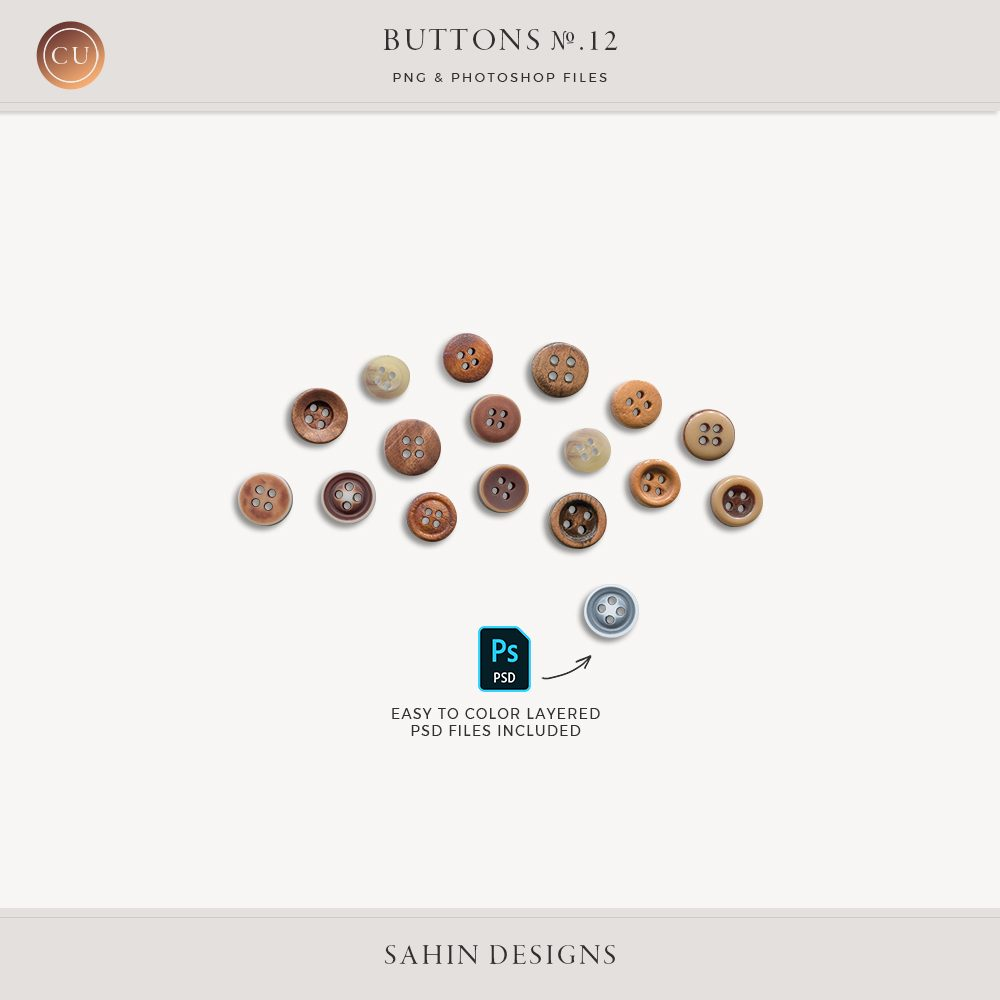 Extracted Vintage Buttons - Sahin Designs - CU Digital Scrapbook