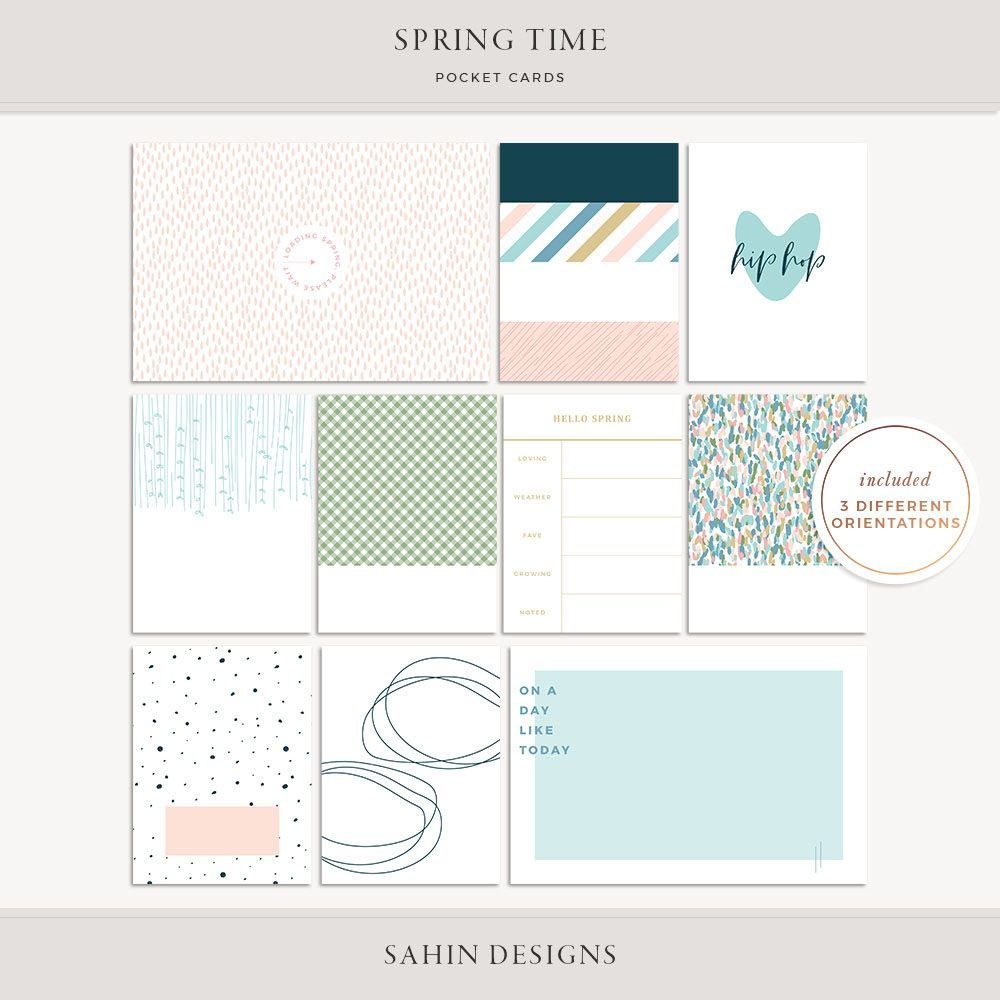 Spring Time Printable Pocket Cards - Sahin Designs