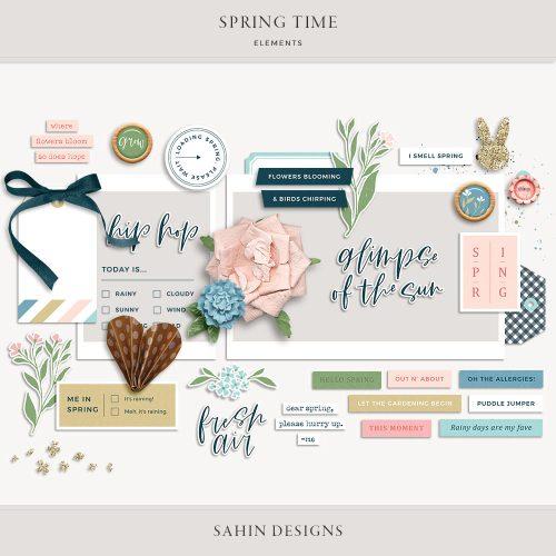 Spring Time Digital Scrapbook Elements - Sahin Designs