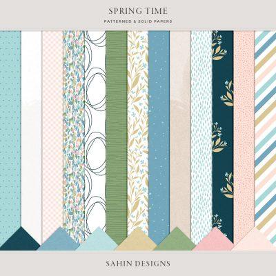 Spring Time Digital Scrapbook Papers - Sahin Designs