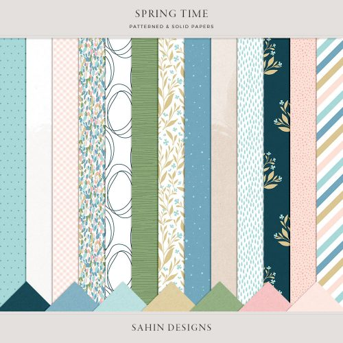 Spring Time Digital Scrapbook Papers - Sahin Designs