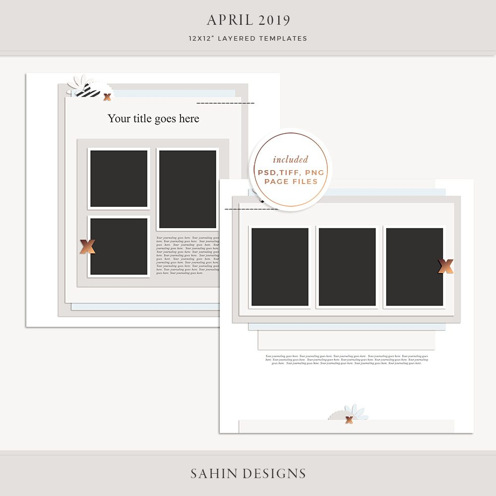 April 2019 Digital Scrapbook Layout Template/Sketch - Sahin Designs