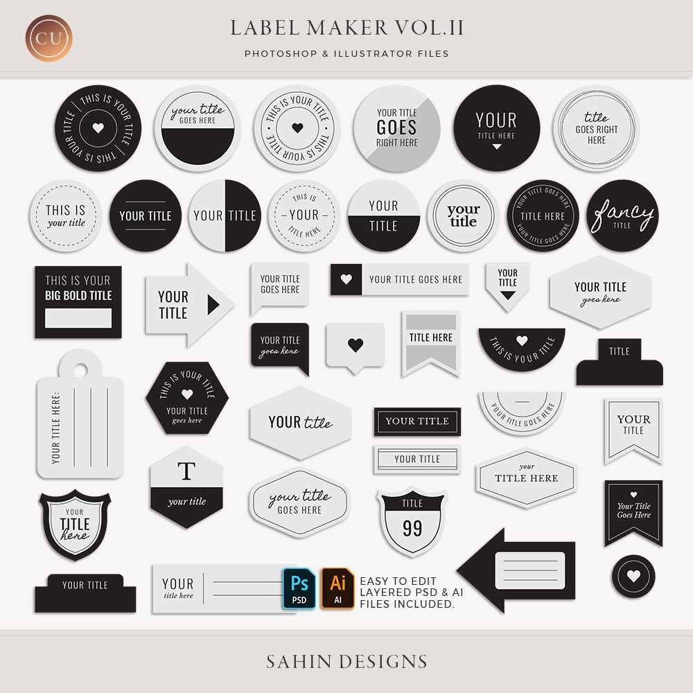 Label Maker Vol.II - Sahin Designs - CU Digital Scrapbook