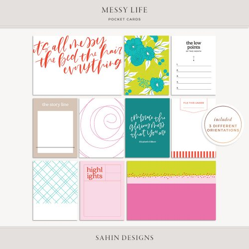 Messy Life Printable Pocket Cards - Sahin Designs