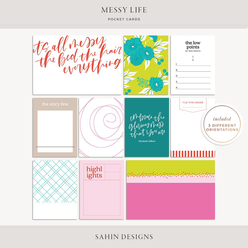 Messy Life Printable Pocket Cards - Sahin Designs